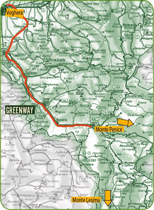 Greenway Voghera - Varzi: pedalando. Mappa area collina