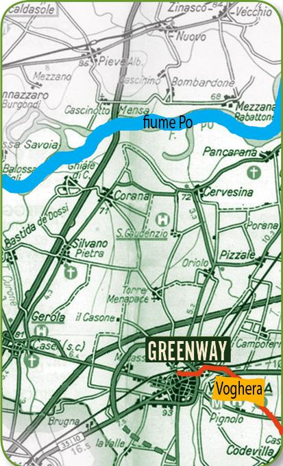Greenway Voghera - Varzi: pedalando. Mappa area pianura